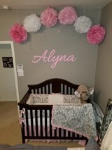 Pink and Gray Damask Custom Baby CRib Bedding in Spring, Texas