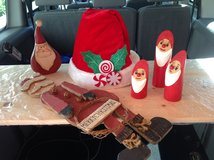 Large & Small Wooden Santas, Large Santa Hat, Dowel Santas Xmas in Ramstein, Germany