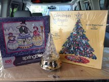 Two Christmas Puzzles - Snowmen & Angel - Musical Tree in Ramstein, Germany