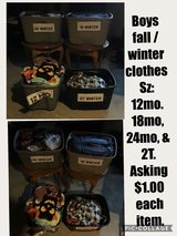 Boys fall & winter clothes Sz: 12, 18, 24, & 2T in Shorewood, Illinois