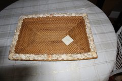 "Pottery Barn 21"" x 15"" nautical Beach wicker coffee tray with seashell border in Tacoma, Washington"