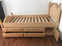 - Twin Bed Frame/base with storage and Dresser with mirror Set! in Stuttgart, GE