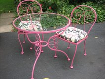 vintage scrolly raspberry iron patio table and chairs in Naperville, Illinois