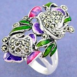 New - Green, Pink and Purple Enamel and Marcasite 925 Sterling Silver Ring- Size 7 in Alamogordo, New Mexico