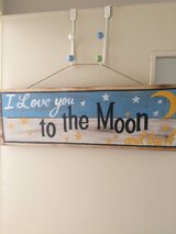 To the Moon and Back wooden sign in Okinawa, Japan