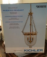 NEW-3-Light Natural Brass Pendant, by-Kichler in Joliet, Illinois