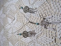 Dream Catcher Necklace Earring Set with Turquoise Stones on Each Silver Dangle in Kingwood, Texas
