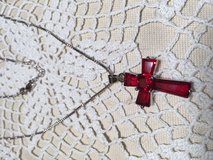 Sterling Silver Chain and Cross With Ruby Stones New Never Worn in Kingwood, Texas