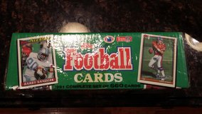 Complete 1991 set of Topps NFL football cards, 660 cards, new in Oswego, Illinois