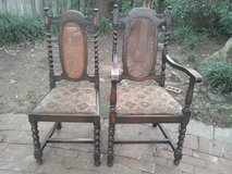 Antique English Oak Barley Twist Dining Chairs- 4 side & 1 arm in Fort Belvoir, Virginia