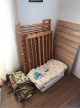 WOODEN BABY CRIB WITH FOLDABLE MATTRESS in Okinawa, Japan