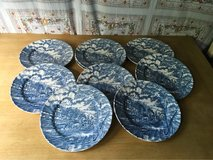 8 dinner plates blue white ROYAL WESSEX ENGLAND transferware in Ramstein, Germany