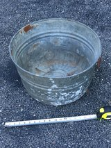 "18"" Vintage Galvanized Steel Round Tub, Ribbed Bucket/Garden Flower Planter in Naperville, Illinois"