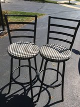 Set of 2 kitchen man cave bar black & white tall stools chairs in Glendale Heights, Illinois