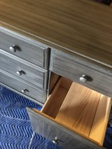 Solid wood gray accented dresser/changing table in Plainfield, Illinois