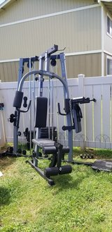 Home gym and punching bag with stand in Schofield Barracks, Hawaii