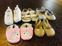 5 pairs of baby girl size 2 shoes in Warner Robins, Georgia