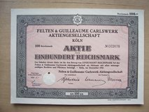 1941 German Stock Certificate in Mannheim, GE