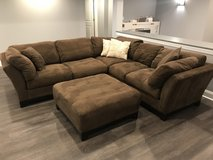 Cindy Crawford brown sectional with ottoman in Plainfield, Illinois