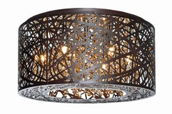 ET2 Lighting Flush Mount w/Clear and White Glass Shades, Bronze in Naperville, Illinois