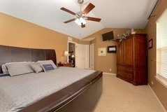 Leather King bed (Bed only no mattresses or support for them) with storage at foot in Sugar Grove, Illinois