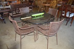Glass Top Wicker Table and 4 Chairs in Fort Lewis, Washington