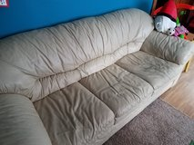 Leather Couch (Tan/Light Cream) in Glendale Heights, Illinois