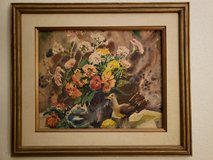 REDUCED Framed watercolor flowers in 29 Palms, California
