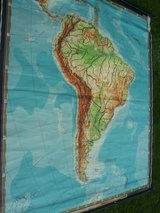 1960s GE School Poster:  Map of South America + One 1,000 Mark Reichbanknote in Ramstein, Germany