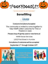 Donations of Halloween Costumes accepted at HAAM in Kingwood, Texas