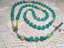 image 0 image 1 ??zoom Rosary Aqua Frosted Glass Beads Yellow Sunshine Accents Full Color Middle... in Kingwood, Texas