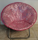 Pink/Silver Microsuede Folding Saucer Chair in Kingwood, Texas