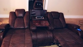 Leather Couch & Recliner in Moody AFB, Georgia