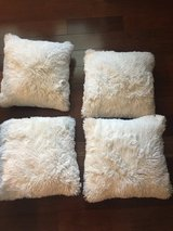 "4 New White Fur 16"" Square Pillows in Wheaton, Illinois"