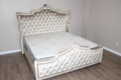 Diamond Golden Beige Velvet Upholstered King Canopy Bed With Crystal T in CyFair, Texas