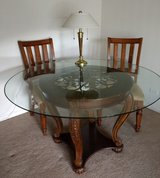 Dining Table (glass top) and 3 chairs (2 with arms). in Chicago, Illinois