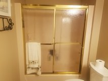 glass sliding shower doors in Gold frame in Kankakee, Illinois