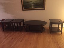 Cherry wood coffee table and 3 end tables in Naperville, Illinois
