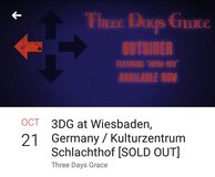 4 tickets for Three Days Grace in Ramstein, Germany