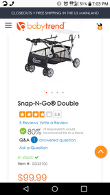 Double snap n go stroller in Hinesville, Georgia