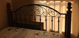Queen Mattress Headboard Metal Scroll and Wood in Quantico, Virginia