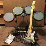 Rock Band Xbox 360 Drums, guitar, mic, game in Bartlett, Illinois