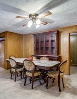Beautiful Marble Table with Matching China Cabinet Buffett with chairs in CyFair, Texas