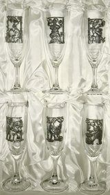 Set of 6 Vintage Champagne Flutes in Ramstein, Germany