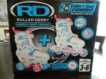 RD Roller Derby 2 in 1 Inline & Quad Combo Girls Size 3-6 in Bolingbrook, Illinois