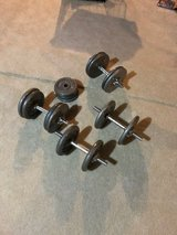 Dumb bell and weight set-4 dumb bells and 140 lbs weights in Joliet, Illinois