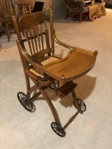 Oak antique high chair in Naperville, Illinois