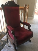 Antique velvet chair w intricate woodwork in Westmont, Illinois