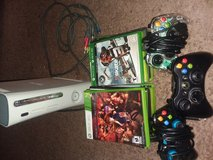 Xbox 360 Console, 3controllers,and 5 games. in Beaufort, South Carolina