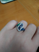 Blue and emerald ring with diamonds in Warner Robins, Georgia